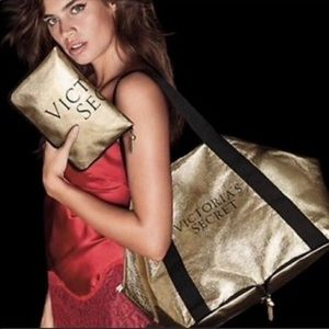 Victoria's Secret Gold packable/ foldable tote